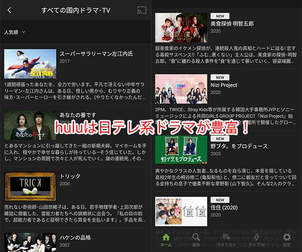 「hulu(フールー)」は日本テレビ系の国内ドラマが得意