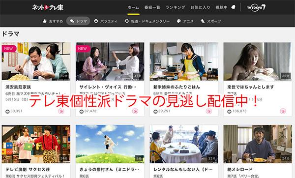 「ネットもテレ東」はテレビ東京のドラマの見逃し配信をやってます